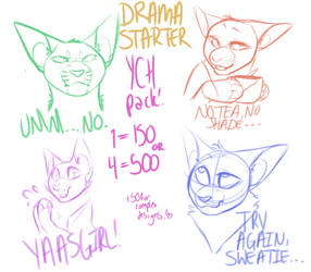 Drama Starter Chat Sticker YCH pack CLOSED by dessydoodle