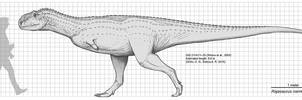 Rajasaurus narmadensis Size Chart by Paleocolour