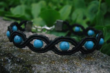 Black + Turquoise Micromacrame Bracelet by releaserevolverenew