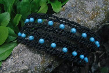 Black + Turquoise Micromacrame Bracelets by releaserevolverenew