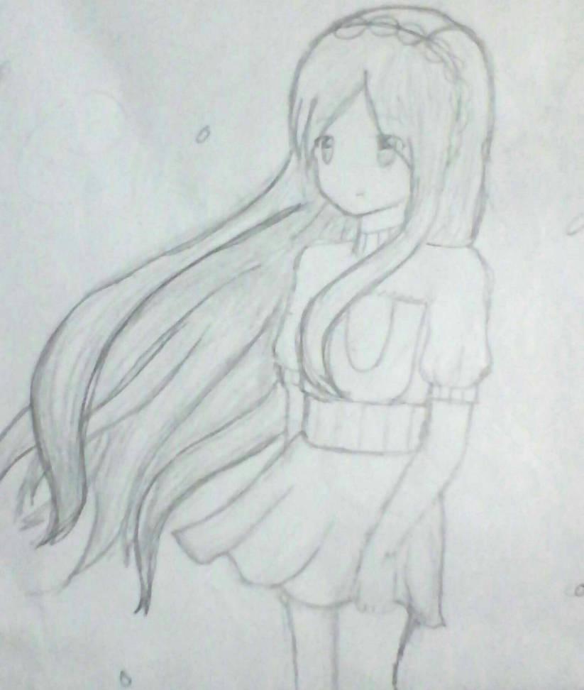 Anime girl pencil drawing by nekonekocutie