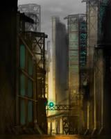 Sci-Fi City Sketch by dustycrosley