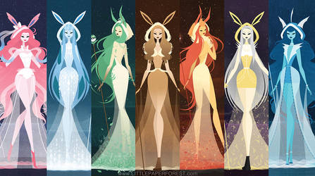 Eeveelutions as Goddesses by littlepaperforest