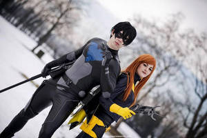 Nightwing and Batgirl by kura-and-something