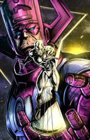 Galactus and Silver Surfer by BacchiColorist