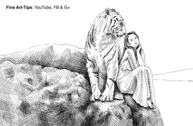 How to Draw a Tiger and a Girl - Glass pen ink by ArtistLeonardo