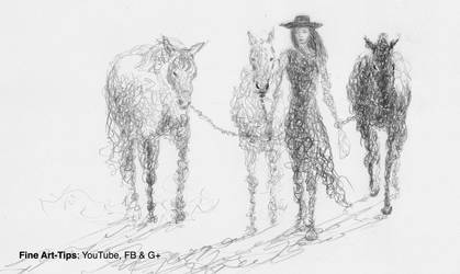 How to Draw Doodle a Woman With Horses - Narrated by ArtistLeonardo