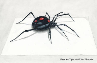 How to Draw a Black Widow Spider in 3D - Narrated by ArtistLeonardo