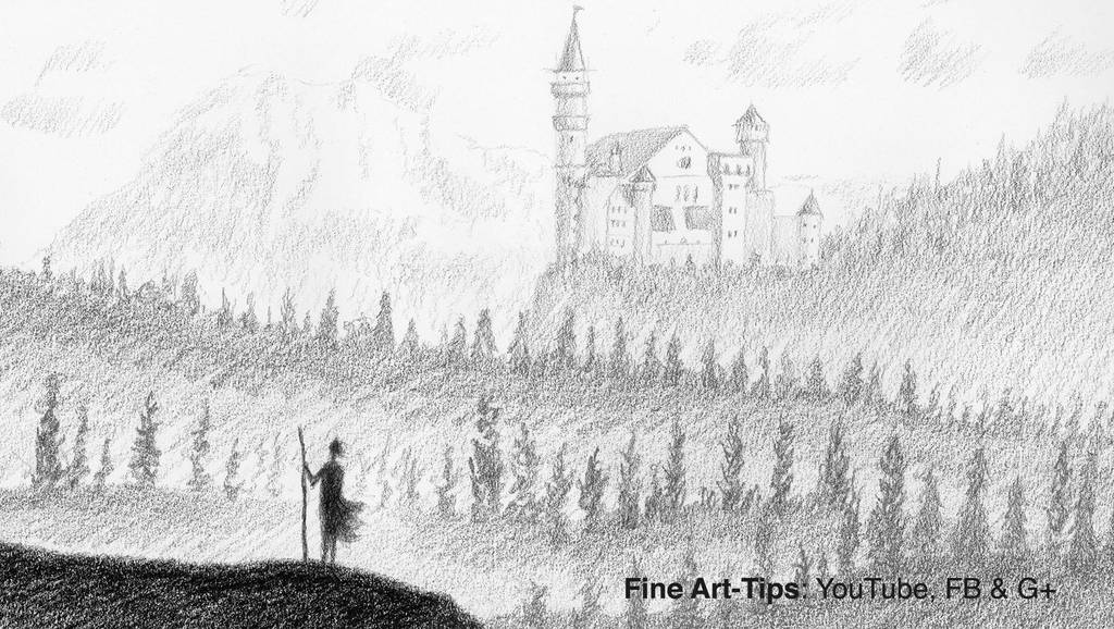 How to Draw a Fantasy Landscape With Charcoal and by ArtistLeonardo
