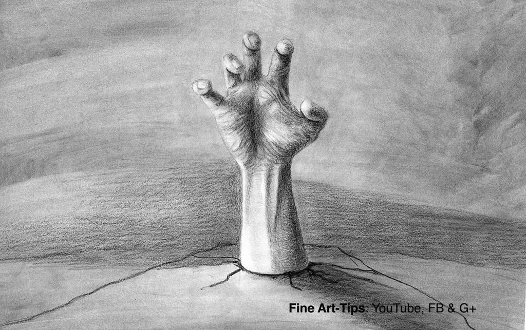 How to Draw a Zombie Hand in 3D - Halloween by ArtistLeonardo