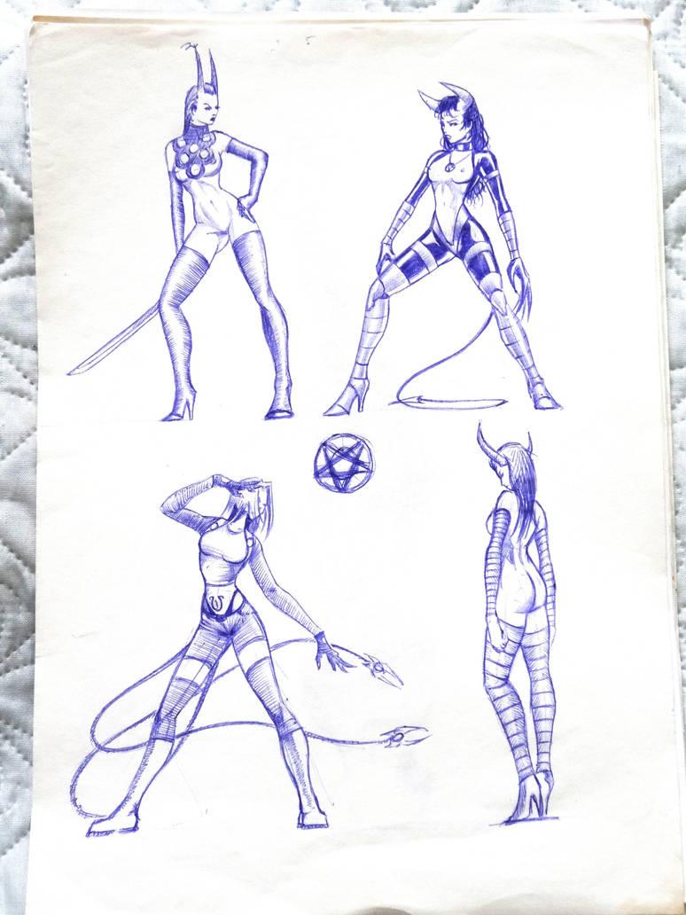 my old teenage sketch (game females) by muravei