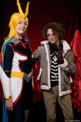 Cosplay : All Might (Young Age) and Hawks by AlienGirl34