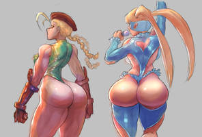 Cammy and Mika sketch by cutesexyrobutts