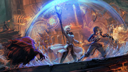 painting: Y'shtola and Rin battle scene by cutesexyrobutts