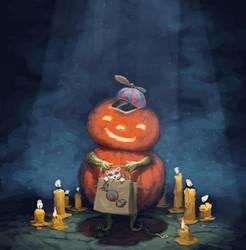Pumpkin boy with kitten by mcf