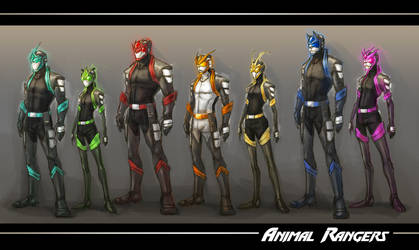 :WWP: Animal Rangers line up by Dyemelikeasunset