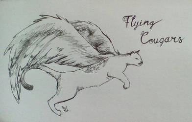 Inktober Day 14 Flying Cougars by PackRatTheArtist