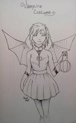 Inktober Day 18 Vampire Costume by PackRatTheArtist
