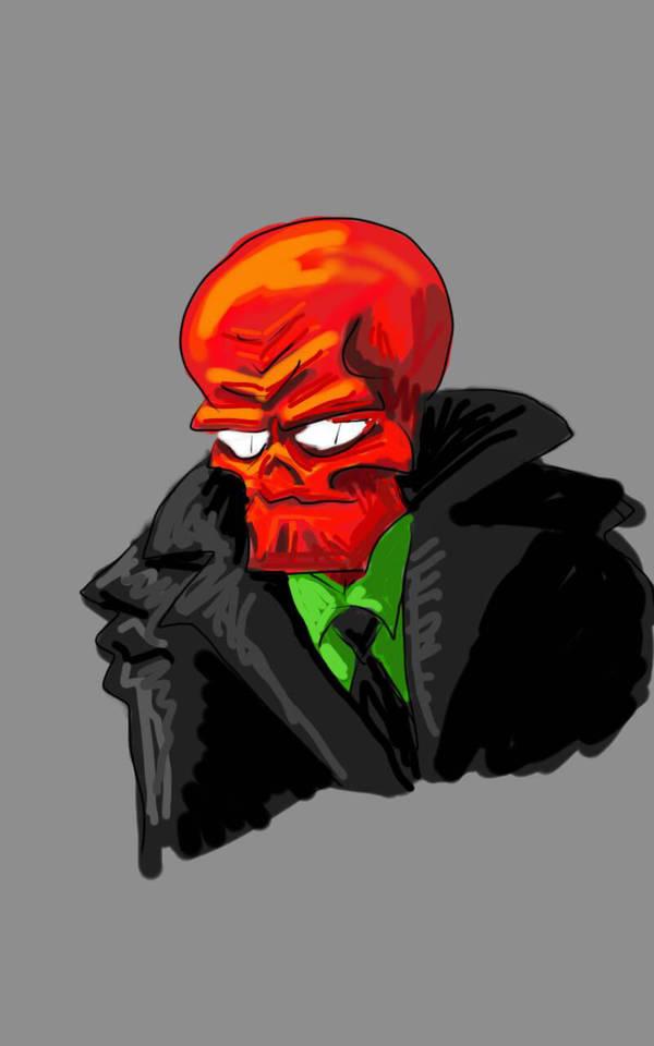 Red Skull doodle by uhlrik