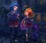 Zoe and Jinx night out by SASHlMlSAN