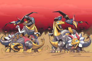 Dinobots Standoff - Commission by EryckWebbGraphics