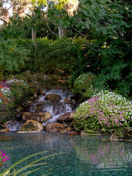 Garden with waterfall stock 2 by FairieGoodMother