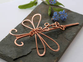 Styled Dragonfly Hair Barrette Or Scarf pin - Medi by AbbyHook