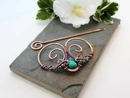 Hair Barrette in copper with Turquoise by AbbyHook