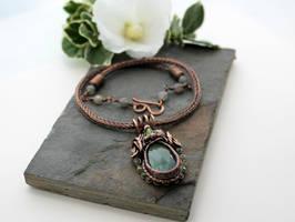 Labradorite, Peridot and copper pendant by AbbyHook
