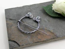 Penannular Brooch - Celtic Spirals by AbbyHook