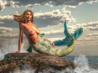 Mermaid on the Rocks by KayleeMason