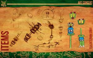 Aztec Xilo_Art Concept - Tlaloc's Rain Staff by Team4Taken