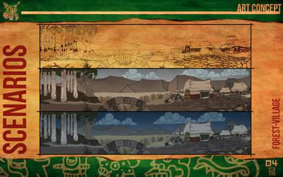 Aztec Xilo_Art Concept - Forest / Village by Team4Taken