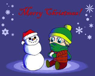 Kid and snowman by LoboTaker
