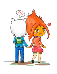 Finn and Flame Princess by AnimeWaterFall