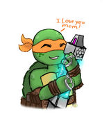 TMNT's Mother with Mikey by AnimeWaterFall