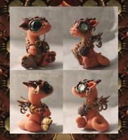 Little orange steampunk dragon by BittyBiteyOnes