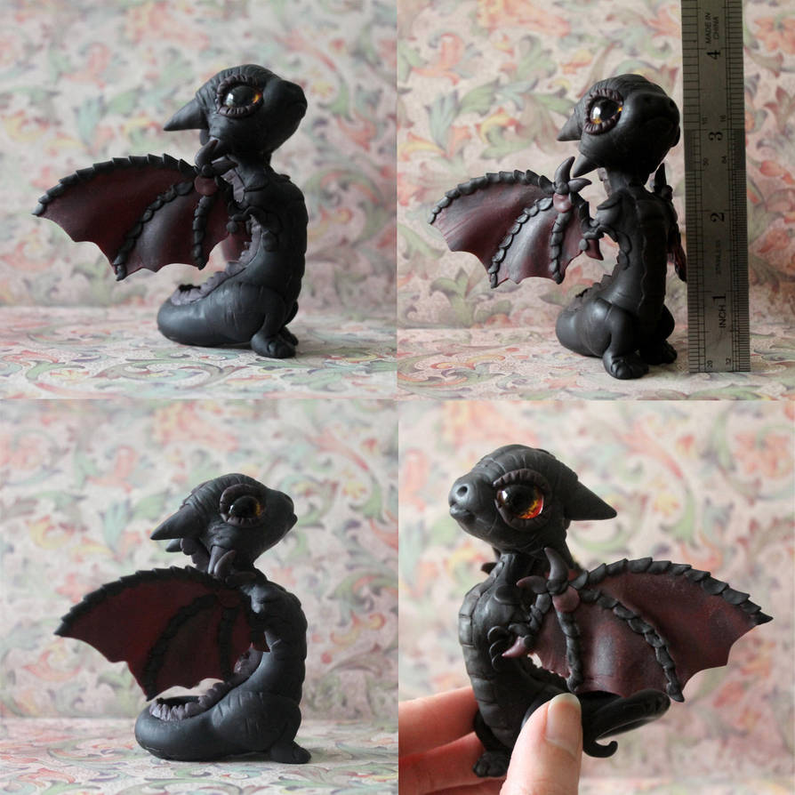 Black Baby Dragon by BittyBiteyOnes