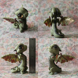 Green and Bronze Baby Dragon by BittyBiteyOnes
