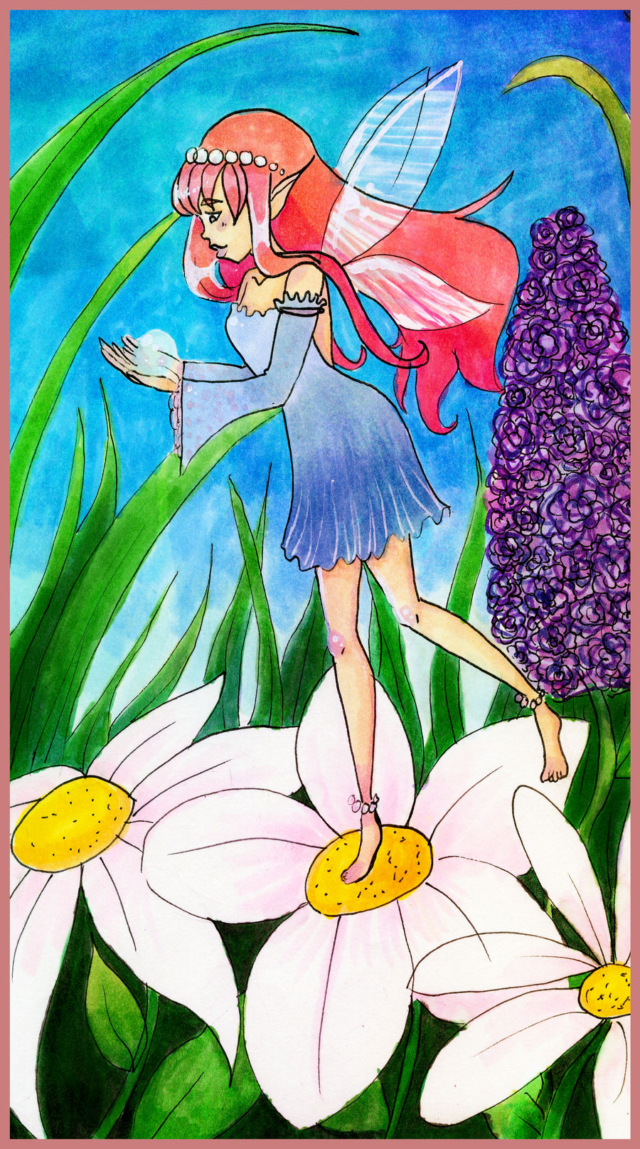 Faerie in the Flowers (Redraw!) by KearaLemon