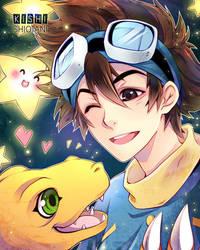 Digimon - Tai + Agumon by KishiShiotani