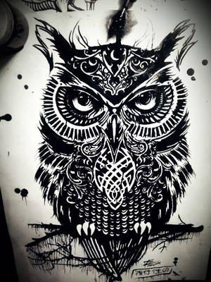 Rachel Caldwells 'Warrior Owl' by Tom Yakovlev by InkedOnyx