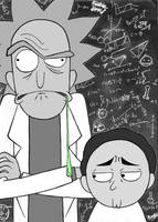 Rick and Morty black and white by Coolygirl03