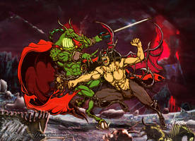 Devilman vs Nemesis the Warlock by MrTuke