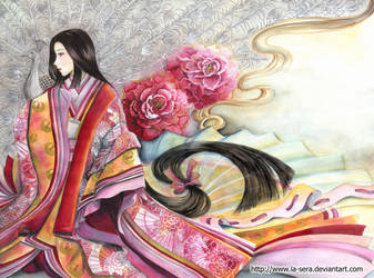 Peacock Kimono by la-sera