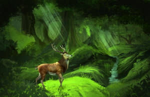 Deer in a Forest by FireandIce13