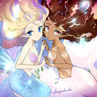 Mermay - Mermaids Coral and Angel by Ichigochichi