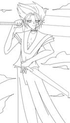 swordsman lineart by meandme1