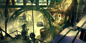 Bioshock Infinite - Early Finkton concept by Benlo