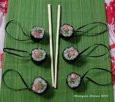 Salmon Roll Maki Glitter Sushi Ornaments by MorganCrone